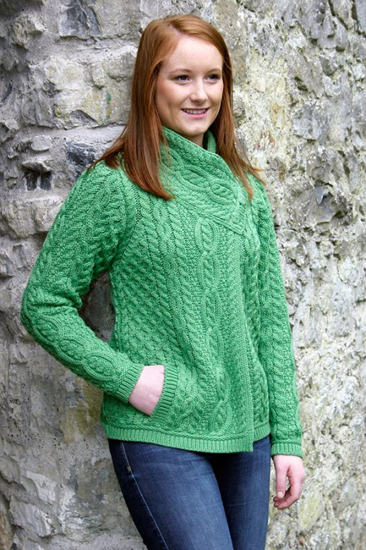 Aran Crafts Ladies Womens Wool Aran Cable Knit Crew Neck Sweater With Pockets  Merino Wool 1d529f1c7
