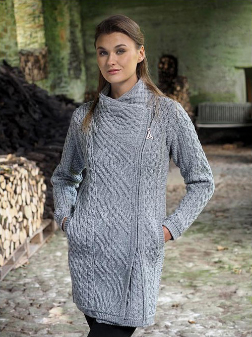 f881bf0d50 Aran Crafts Ladies Womens Merino Wool Aran Sweater Thigh Length Side  Zippered Double Breasted Long Cardigan