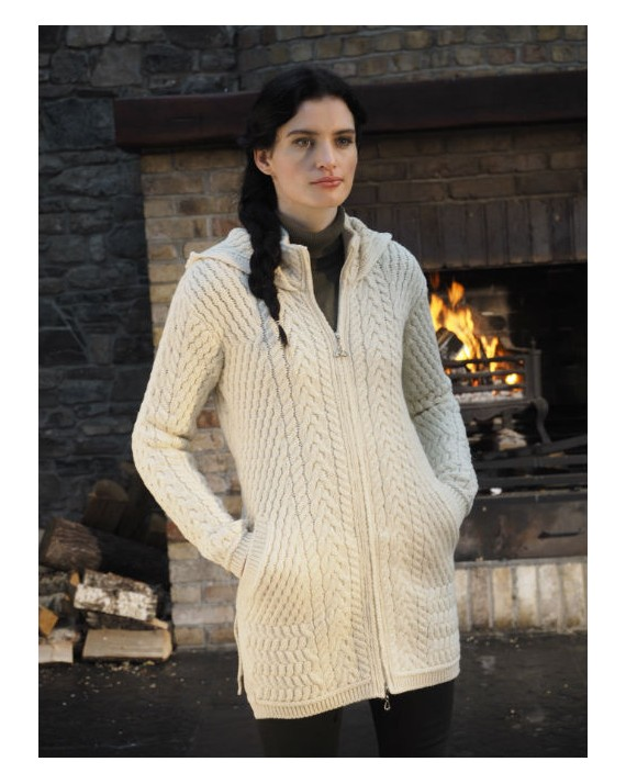 Aran Crafts Irish Aran Womens Wool Cable Knit Hooded Coat with Celtic Knot  Zipper Sweater 9e427ee9d