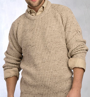 Mens Irish Ribbed Crew Neck Sweater by Aran Crafts