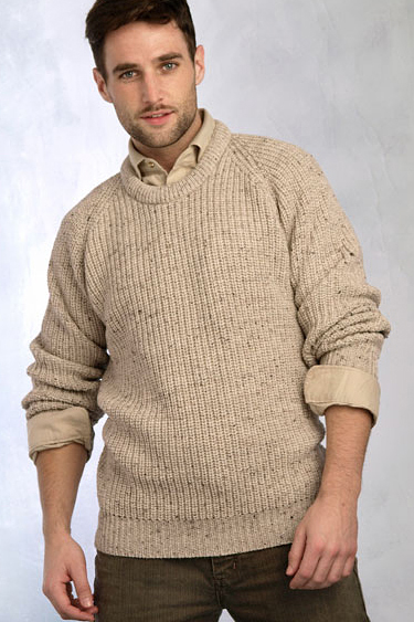 Aran Crafts Mens Ribbed Crewneck Sweater Crew Neck