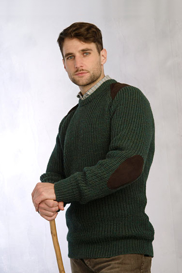 Aran Crafts Mens Ribbed Crewneck Sweater with Patches Crew Neck