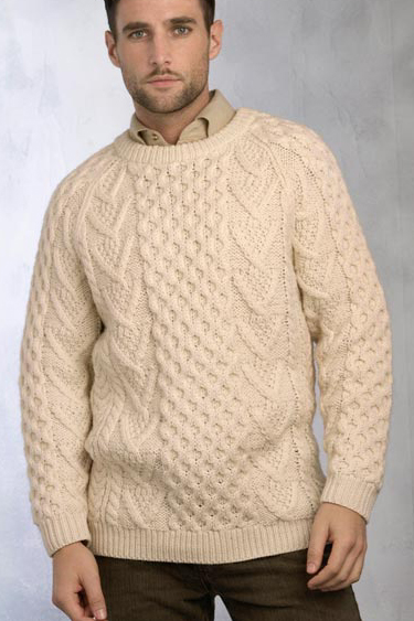 Aran Crafts Mens Aran Crewneck Sweater Crew Neck Handknit Sweater