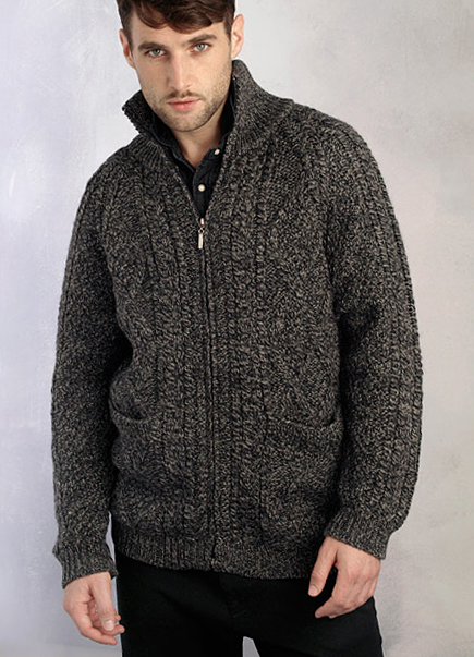Aran Crafts Mens Handknit Cable Knit Aran Full Zip Cardigan Sweater
