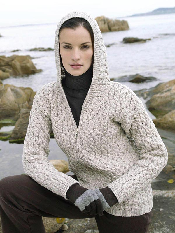 Knitting Pattern Womens Hoodie : Aran Crafts Sweater Womens Ladies