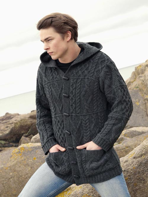 Aran Crafts Mens Aran Cable Knit Sweater with Hood Duffle Coat Jacket Coat Sweater
