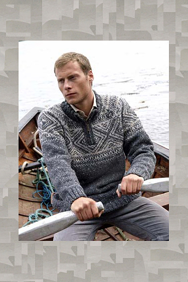 Aran Crafts Mens Nordic Zip Neck Fair Isle Sweater Pullover