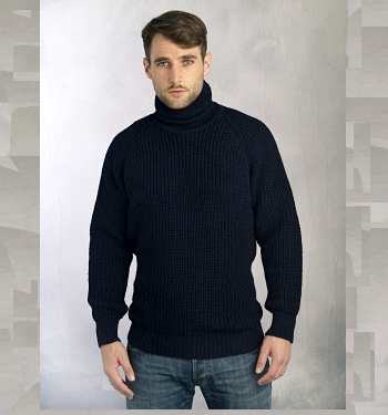 Mens Irish Ribbed Turtleneck Sweater by Aran Crafts