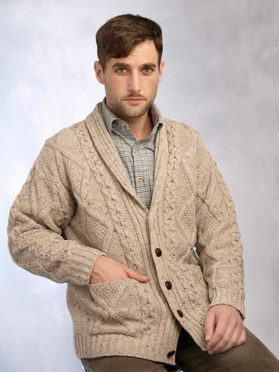 Aran Crafts Mens Donegal Wool Knit Buttoned Shawl Collar Cardigan Sweater
