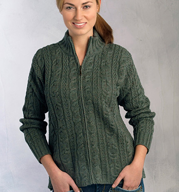 Aran Crafts Ladies Wool Cable Knit Zip Cardigan Sweater