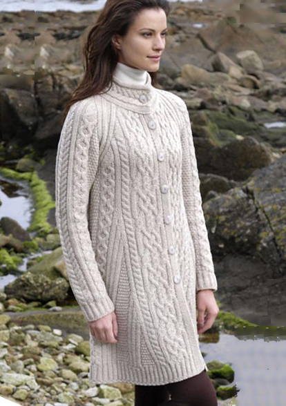 Aran Crafts Ladies Womens Wool Aran Flared Long Sweater Coat Thigh Length
