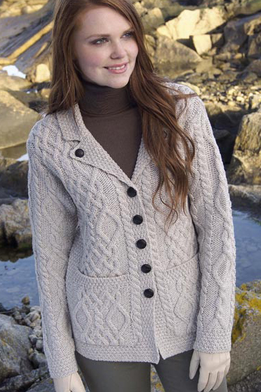59de8bab7f Aran Crafts Irish Aran Womens Wool Cable Knit One Button Sweater