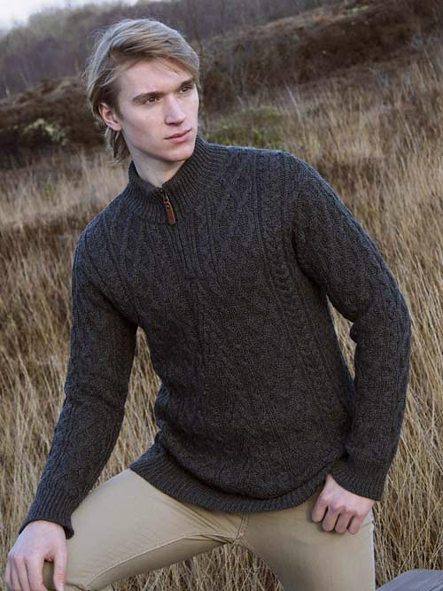 Aran Crafts Mens Wool Cable Knit Leather Pull Zip Neck Cable Knit Sweater Pullover
