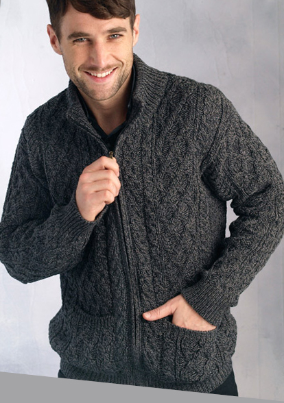 Free Knitting Pattern Mens Aran Cardigan : Mens Sweater Wool Zip Cardigan Charcoal Ireland Irish Aran ...