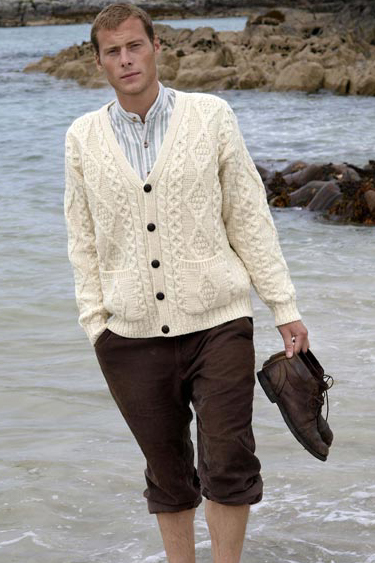 Aran Crafts Mens Aran Sweater V-Neck Buttoned Cardigan Sweater