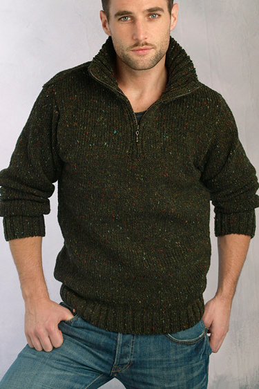 Aran Crafts Mens Donegal Wool Knit Zip Neck Sweater Pullover