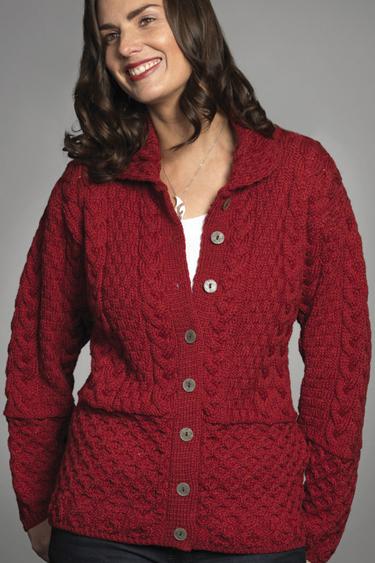 ... Carraig Donn Irish Aran Wool Sweater Womens Cable Knit Buttoned Cardigan  Sweater 31b2f8e58