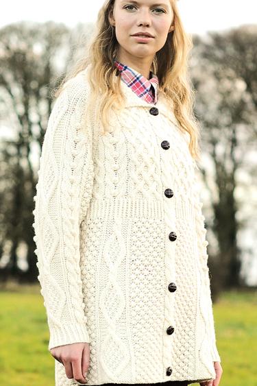... Carraig Donn Irish Aran Wool Sweater Womens Cable Knit Rib Waist  Diamond Cardigan Handknit 0214192cf