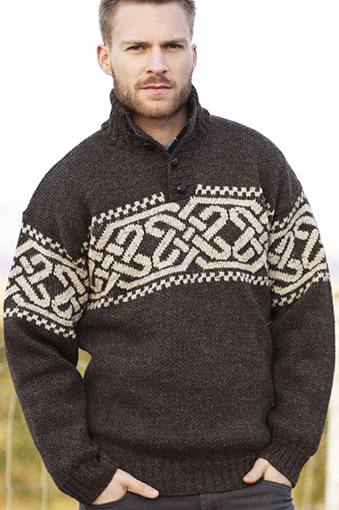 Celtic Knot Troyer 1/4 Qtr Buttoned Neck Irish traditional apparel Fair Isle Nordic wool fall winter sweater