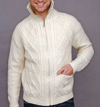 Carraig Donn Mens Wool Patch Pockets Zip Cardigan Sweater