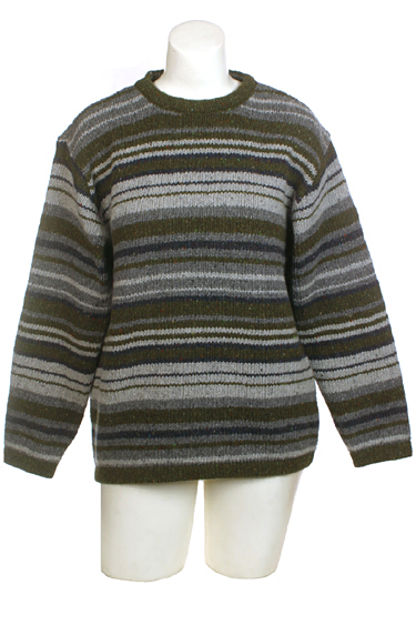 Ireland's Eye Mens Crewneck Wool Cashmere Striped Sweater