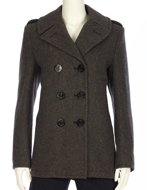 Womens Grey Wool Pea Coat