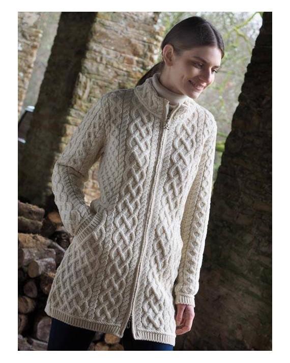 518325f01 Aran Crafts Irish Aran Womens Wool Knit Round Neck Sweater Pullover