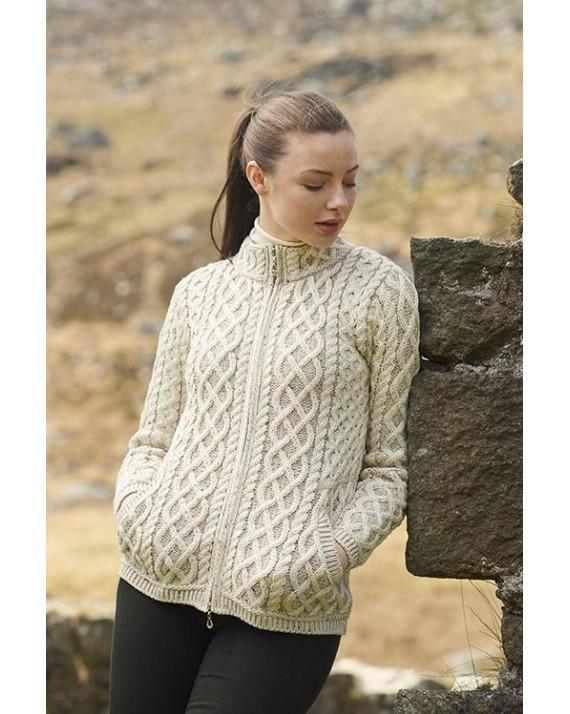 6360057b0 Aran Crafts Irish Aran Womens Wool Knit Round Neck Sweater Pullover