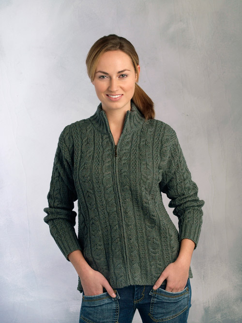 Ladies Irish Zipper Wool Cardigan