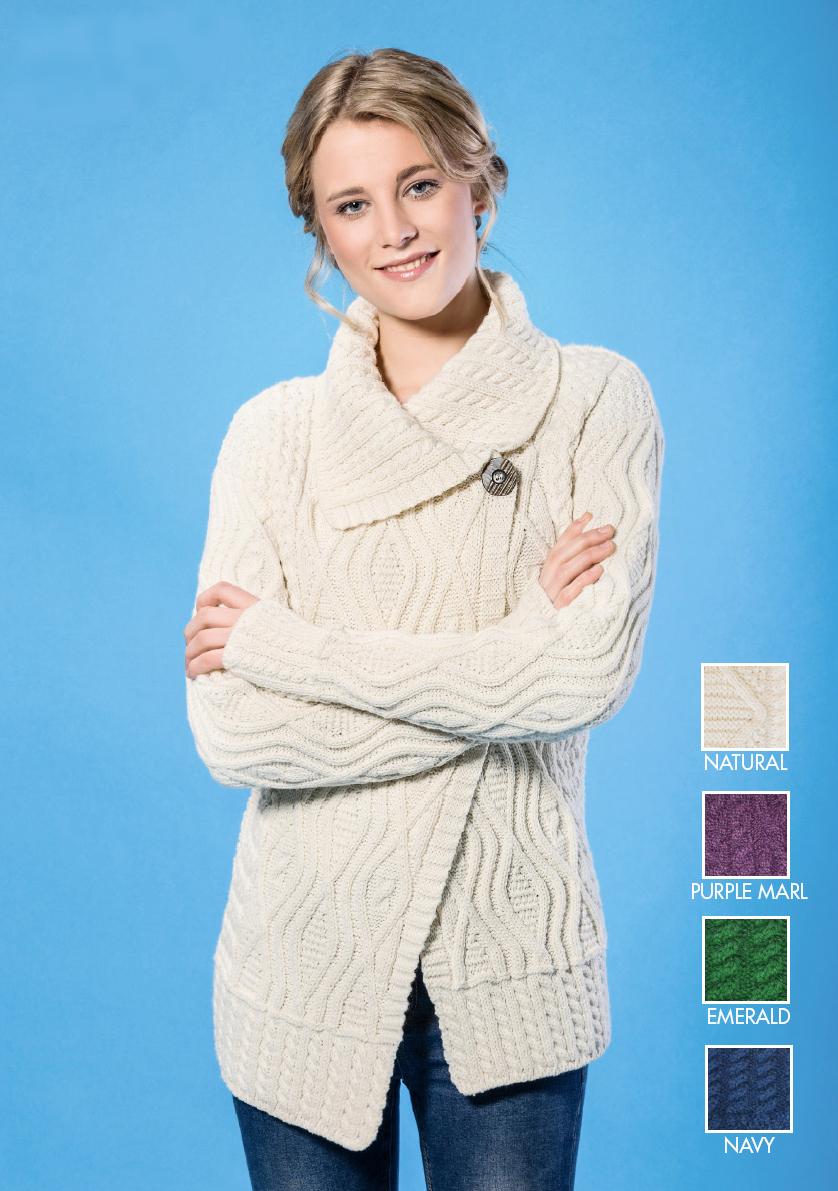 a61a489f990a Aran Private Label Irish womens Merino Wool Collared Asymmetrical Front  Cardigan Aran Sweater Jumper