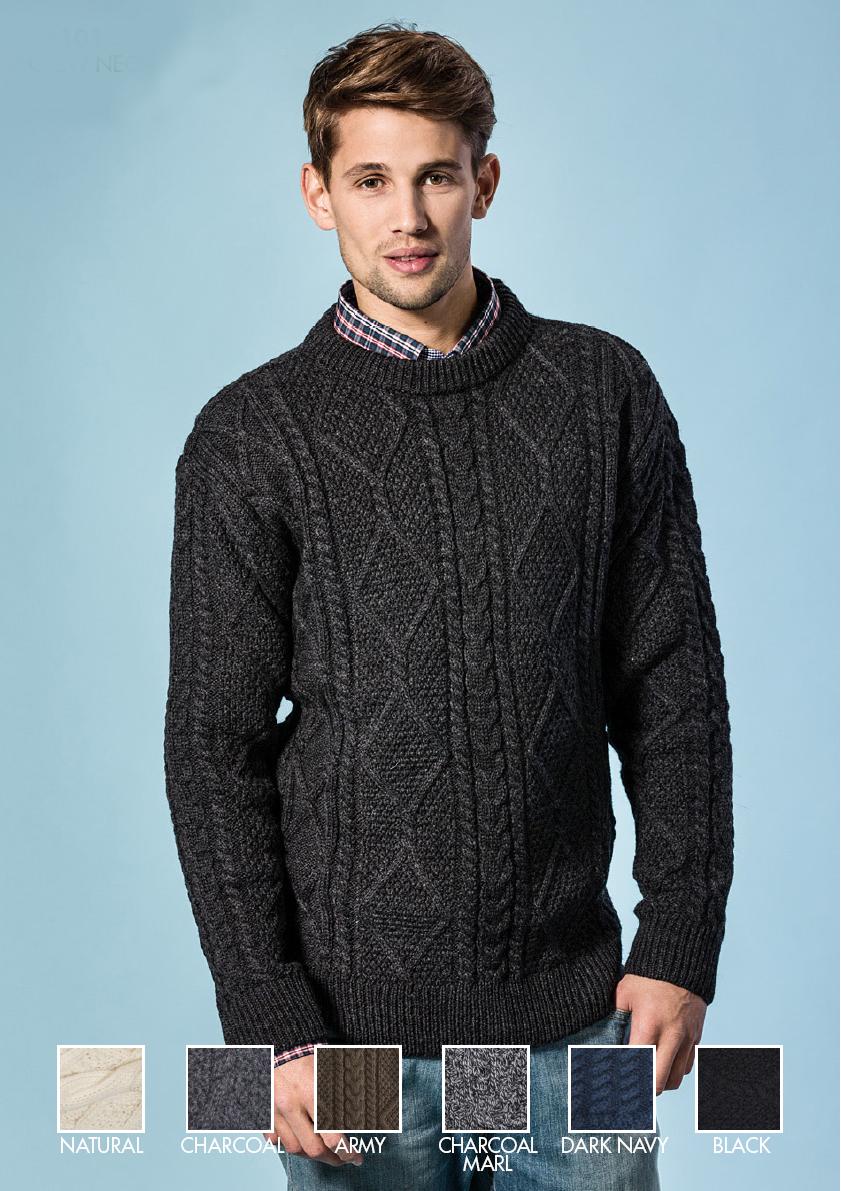 4bac642788a3f9 Full Zip Aran Sweater · Aran Sweater Private Label Irish Mens Merino Wool  Crewneck Pullover Crew Neck Sweater Jumper