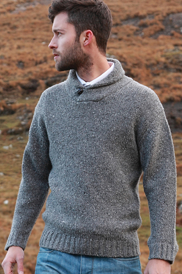Men/'s Wool Sweater Zip Neck Irish Shawl Aran Merino Wool Knit Pullover