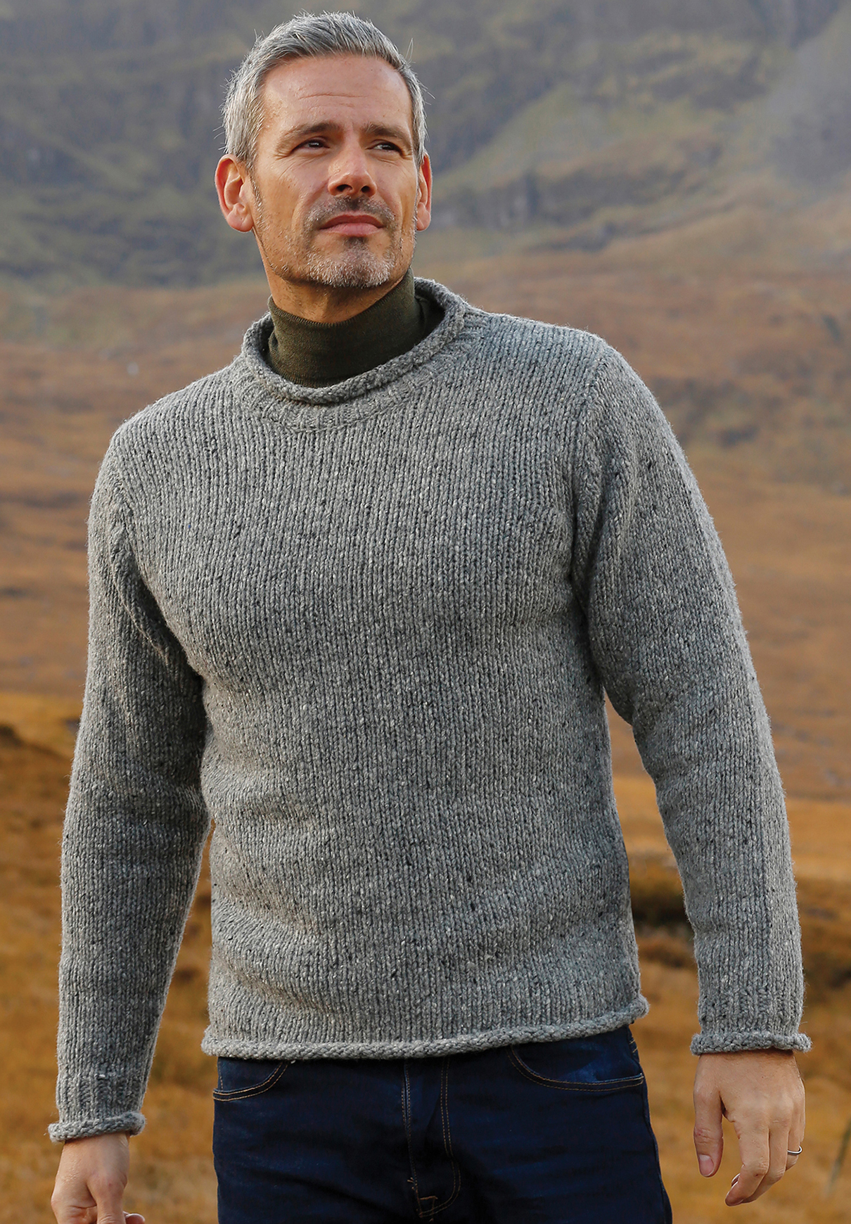 8f39378846ebc6 ... Carraig Donn Irish Aran Mens Wool Sweater Roll Collar Curl Neck Crew  Neck Crewneck Pullover Jumper